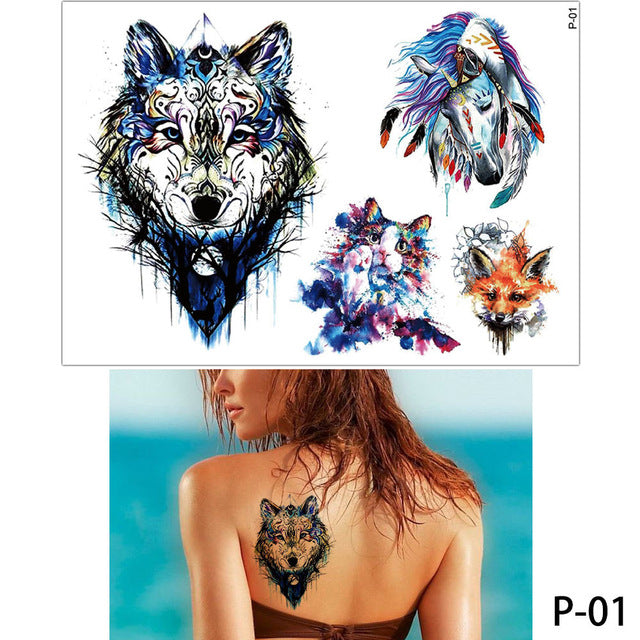 50a5a4ad9 ... Load image into Gallery viewer, glaryyears 19 Designs 1 Sheet Colored  Drawing Body Tattoo Flamingo ...