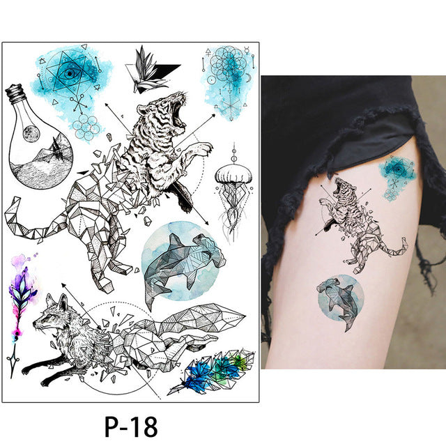 eca29f155 ... Load image into Gallery viewer, 1x DIY Body Art Temporary Tattoo  Colorful Animals Watercolor Painting ...