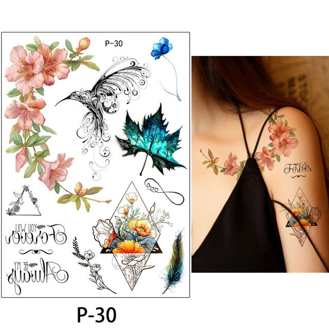b23335dce ... Load image into Gallery viewer, Flower Bird Decal 1pc Fake Women Men  DIY Henna Body ...