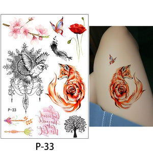 Flower Bird Decal 1pc Fake Women Men Diy Henna Body Art Tattoo