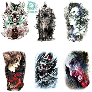 0f12823a8 Rocooart LC-522-921 Body Art HD Halloween Tatoo Sticker assassin Women  Colorful Deer Wolf Skull Temporary Tattoo Stickers