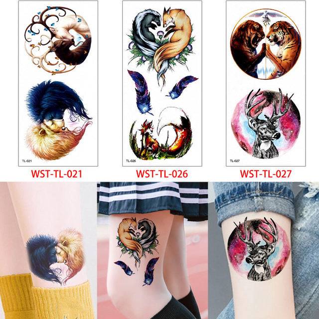 0dba713cd ... Load image into Gallery viewer, glaryyears 3 Pieces/set Animal Body  Tattoo Sticker Temporary ...