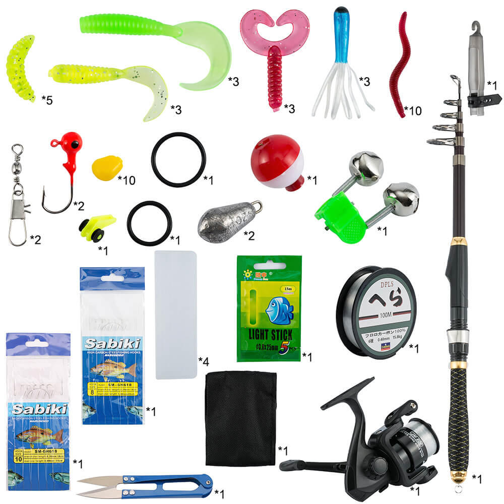 Fishing Set | 56 PCS Fishing Lures Kit with Toolbox Portable Soft Baits for Seawater and Freshwater