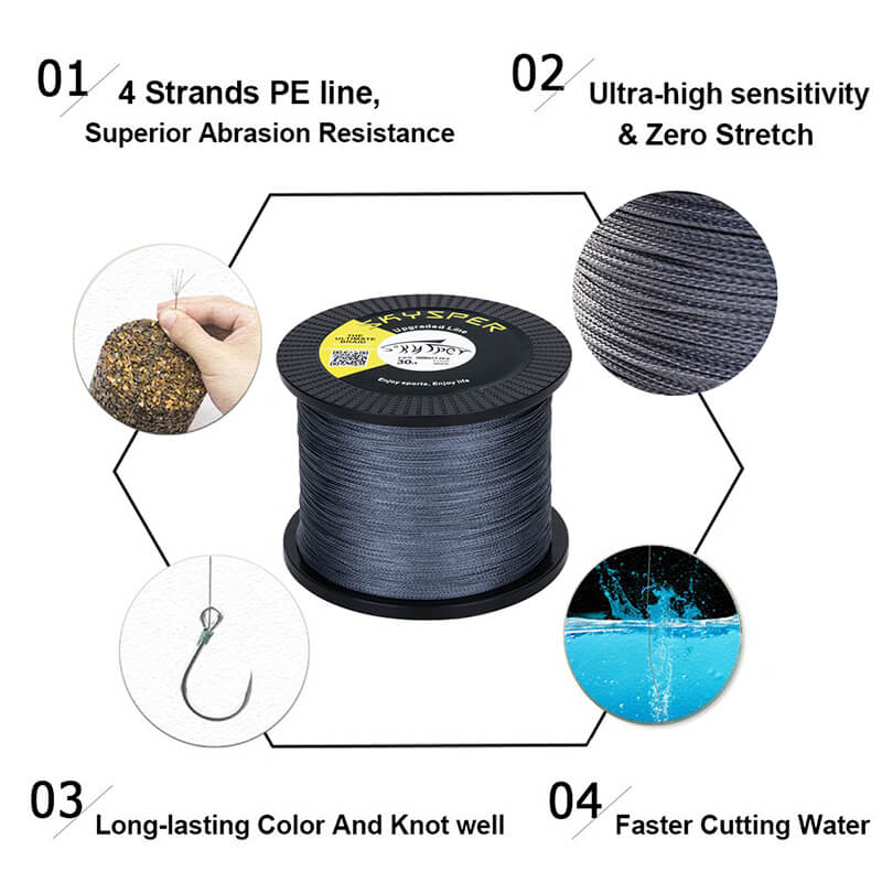 20LB-100LB 1093 Yard 1000m PE 4 Strands Braided Fishing Line[Upgraded]