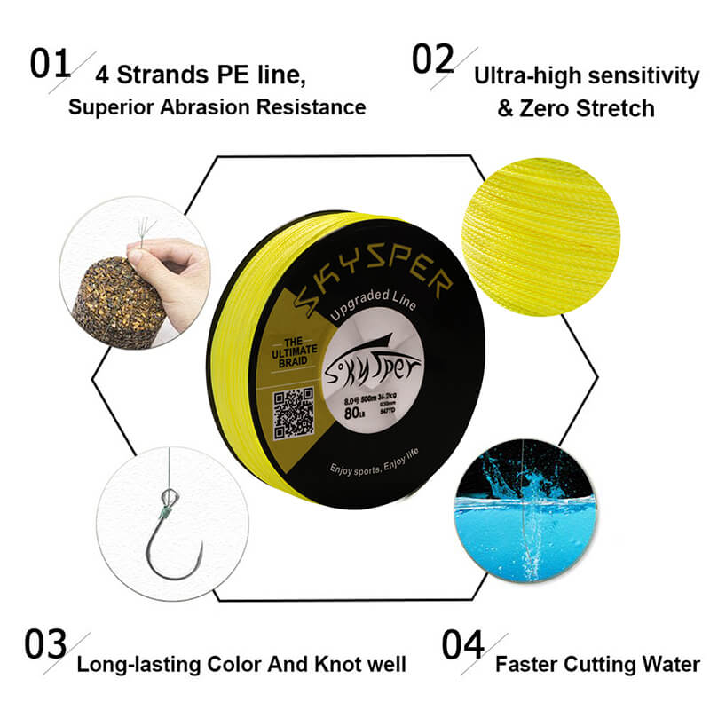 20LB-100LB 546 yard 500m PE 4 Strands Braided Fishing Line[Upgraded]