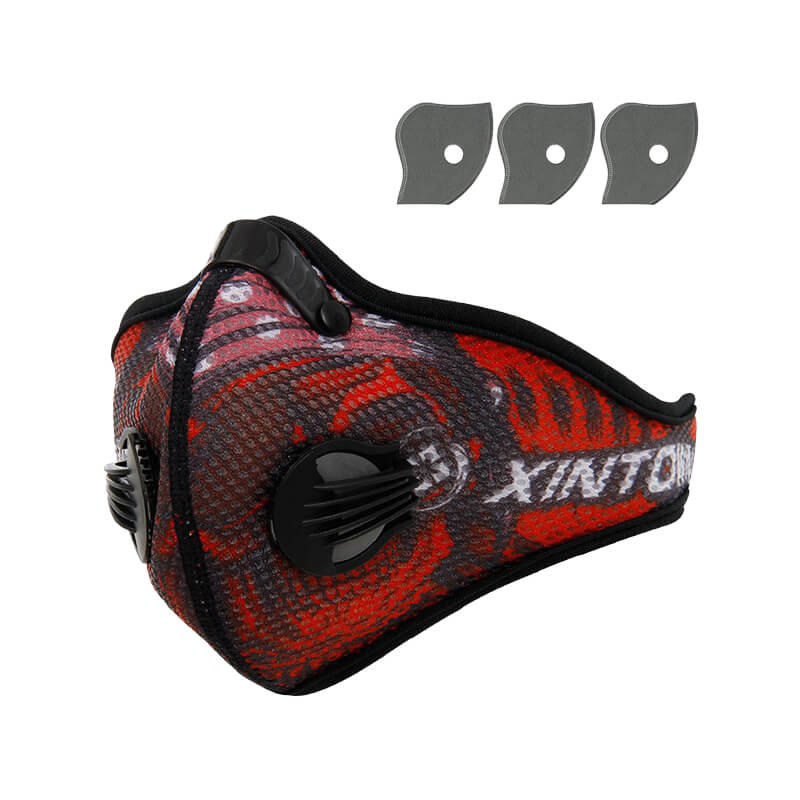 Bike Face Mask | Cycling Pollution Mask | Filter Mask Red Style Against Cold Weather