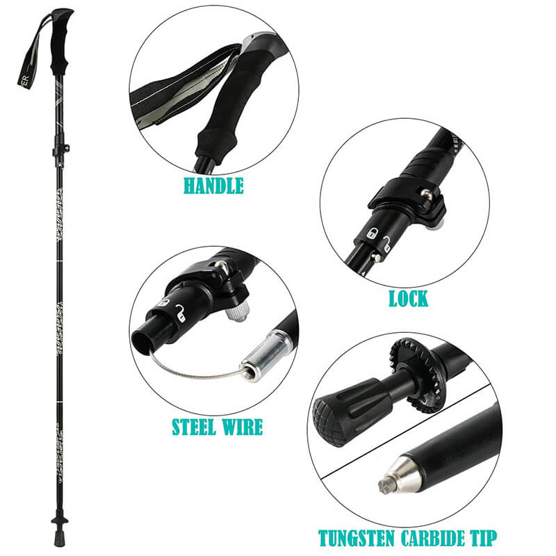 2 Pack Trekking Poles Ultralight Folding Adjustable Hiking  Poles Long Sticks for Camping, Mountaining, Backpacking, Walking