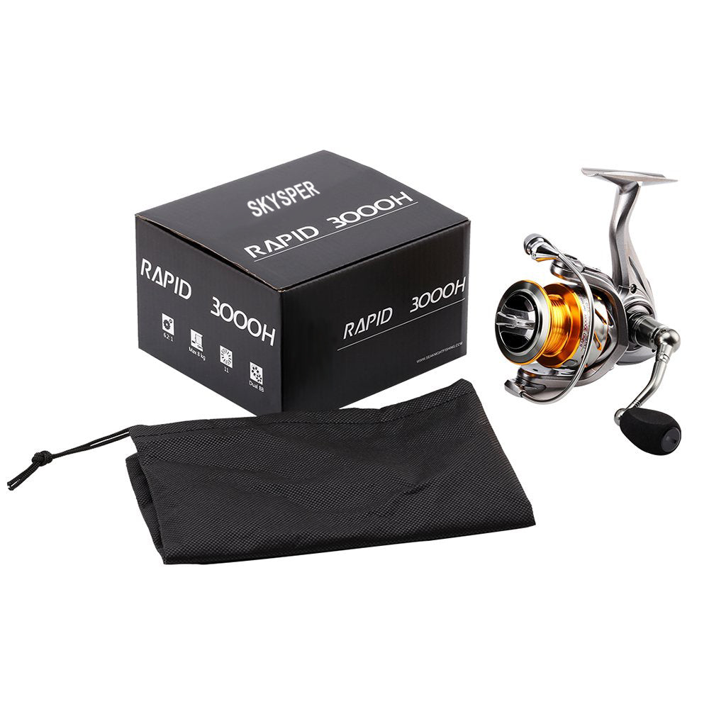 SKYSPER Fishing Reels Spinning Reels 10+1 Stainless Ball Bearings Left/Right Interchangeable Saltwater Fishing Reel