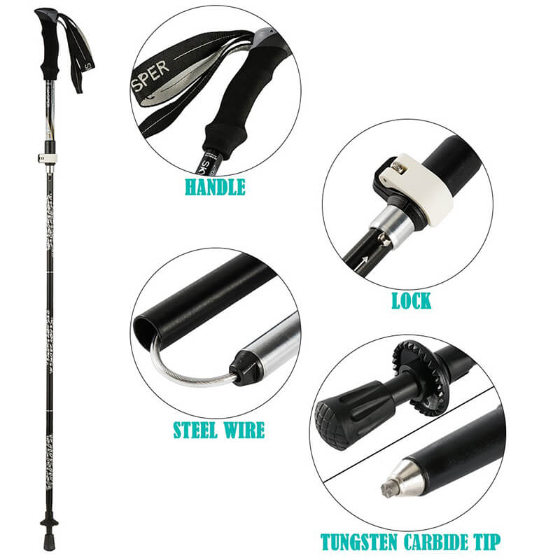 Trekking poles | 2 Pack Lightweight Telescopic Collapsible Hiking Poles For Camping Maintaining Backpacking