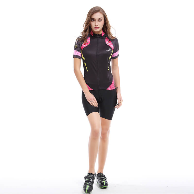 Women's Short Sleeve Cycling Kit - Pink Block