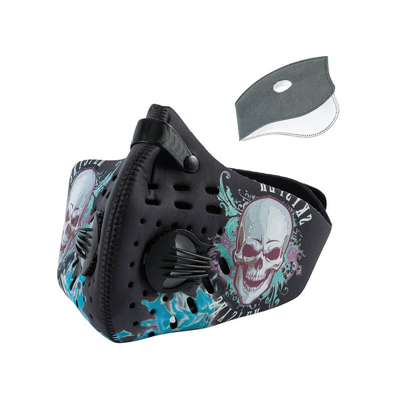 Skull Half Face Mask | Neoprene Mask | Cycling Mask with Replaceable Filter