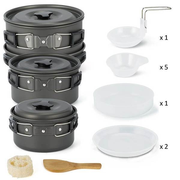3 Pieces Camping Pot | Camping Cook Set | Camping Kettle for BBQ Picnic