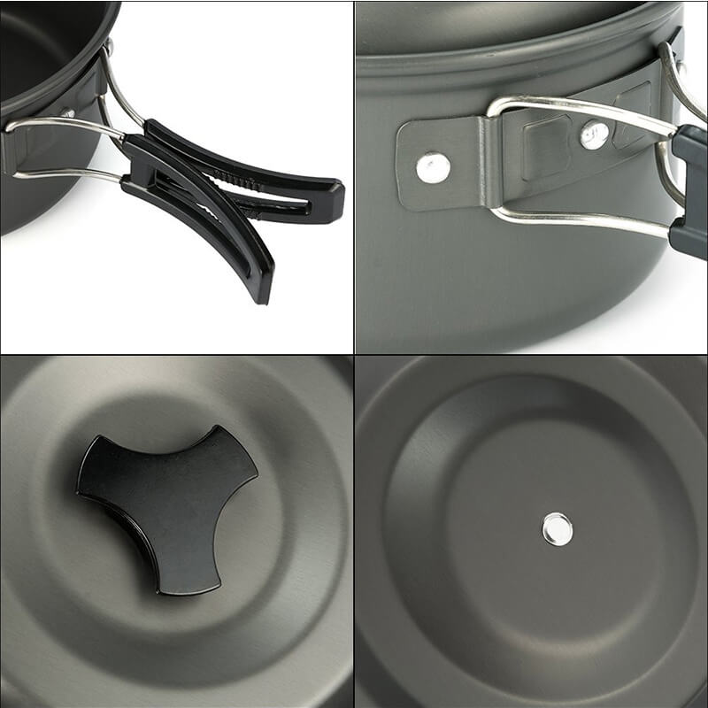 9 Pieces Camping Pots and Pans | Aluminum Camping Cook Set | Camping Cookware for BBQ Picnic