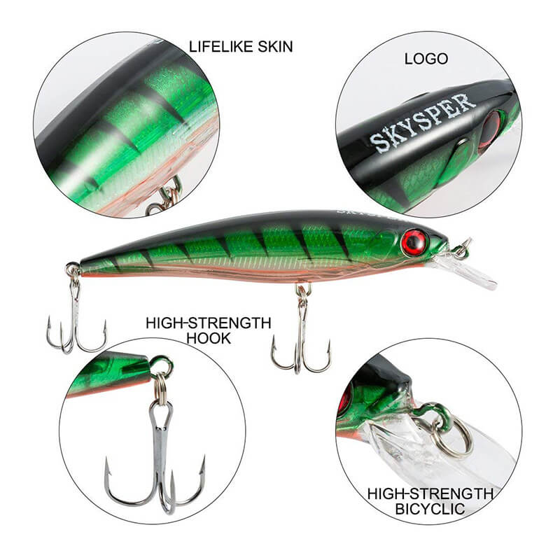 8 Pcs Hard Bait Crank Baits with Treble Hook Life-Like Fishing Lure - SKYSPER