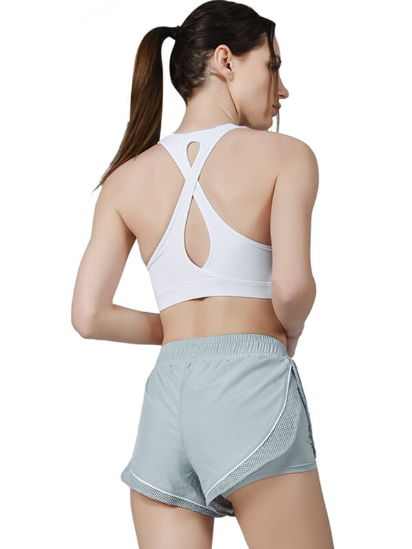 Women's Breathable Mesh Splice Workout Shorts