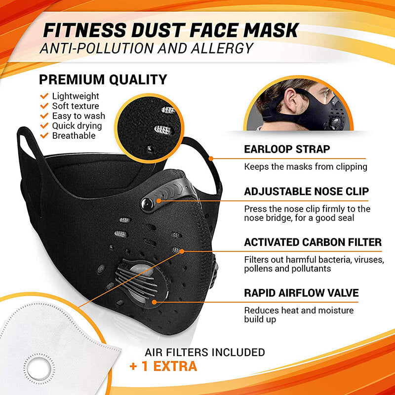 Cycling Mask Hanging Ear Mask Anti-dust Anti-pollution Mask with Air Filters Against Cold Weather