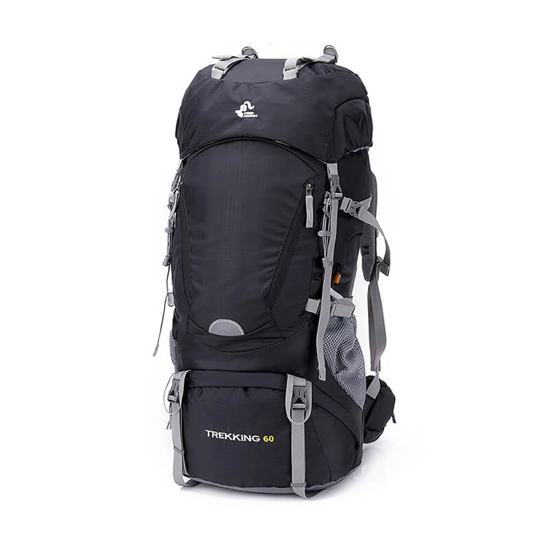 60L Waterproof Backpack with Rain Cover for Hiking Mountaineering Camping Easy to Carry Trekking Poles