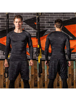 Men Base Layer Compression Top Crew Neck Compression Pants Workout Suits - SKYSPER