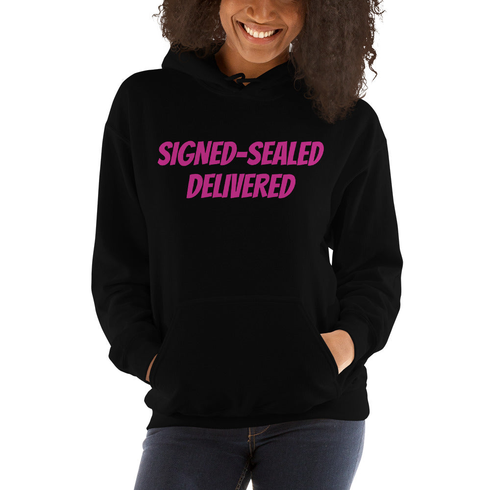 Signed Sealed Delivered Hoodie Pink Lettering