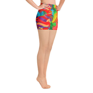 Women's Custom Colorful Abstract Yoga Shorts