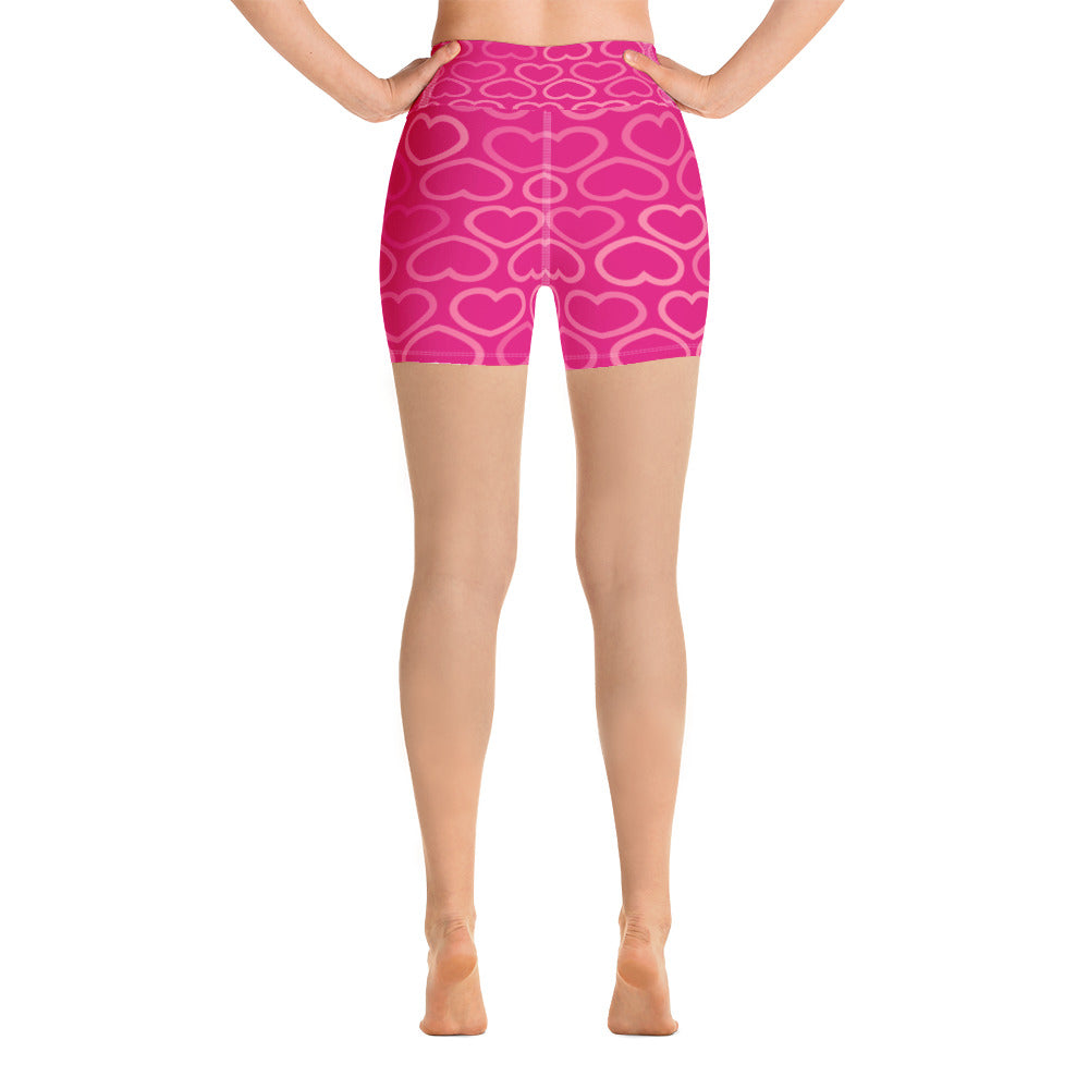 Women's Custom Pink Heart  Yoga Shorts