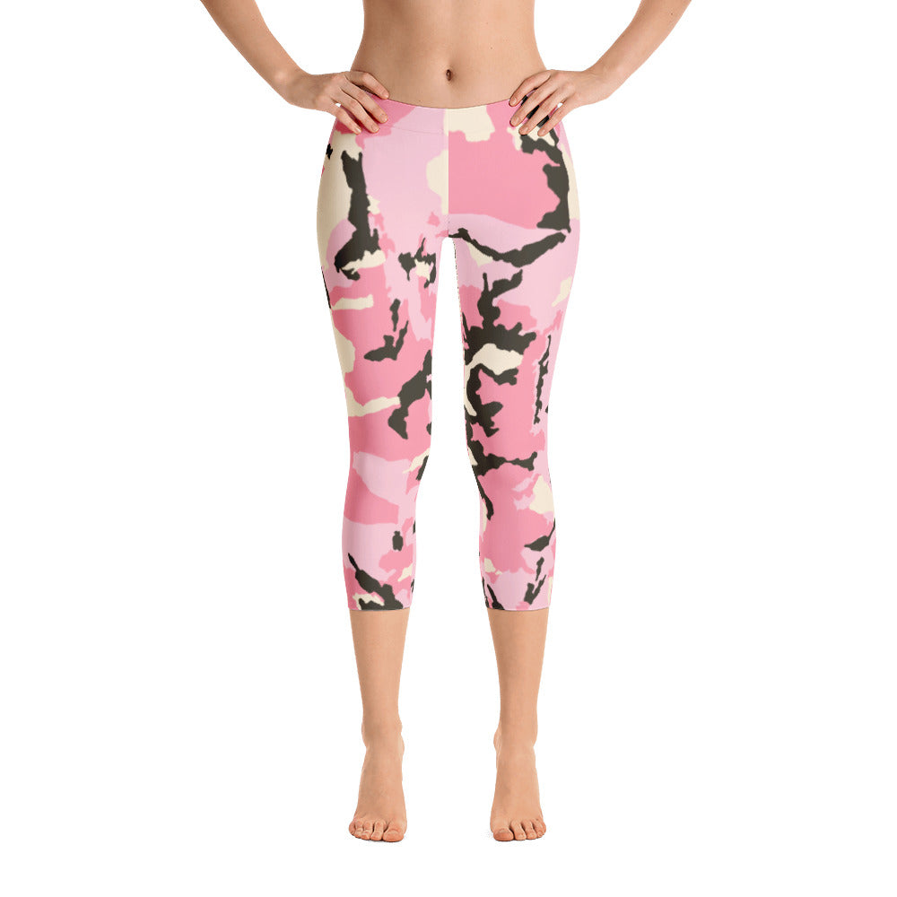 Women's Custom Pink Camo Capri Leggings