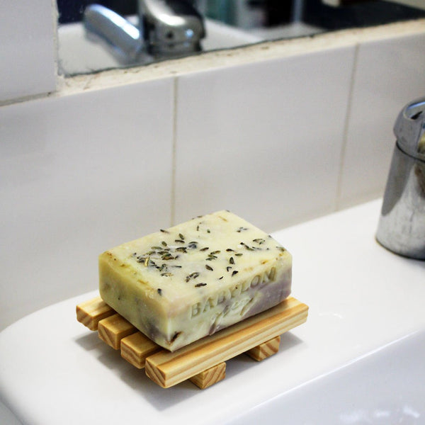 Handmade lavender and lemon soap with coconut oil