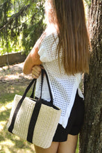 Load image into Gallery viewer, Rattan woven shopper bag cream and black model