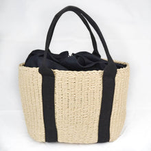Load image into Gallery viewer, Rattan woven shopper bag cream and black
