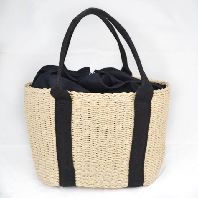 Rattan woven shopper bag cream and black