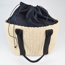 Load image into Gallery viewer, Rattan woven shopper bag cream and black inside out