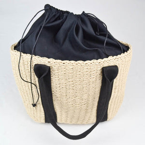 Rattan woven shopper bag cream and black inside out