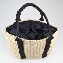 Load image into Gallery viewer, Rattan woven shopper bag cream and black top