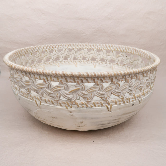 Bali Bowl Wood Woven White Large