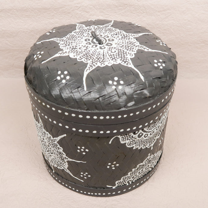 Bali boho chic woven round box painted grey white medium size title