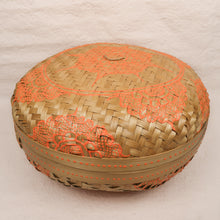 Load image into Gallery viewer, Bali boho chic woven round fat box painted orange large size