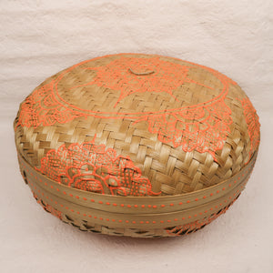 Bali boho chic woven round fat box painted orange large size