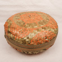 Load image into Gallery viewer, Bali boho chic woven round fat box painted orange medium size