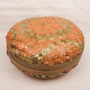 Bali boho chic woven round fat box painted orange medium size