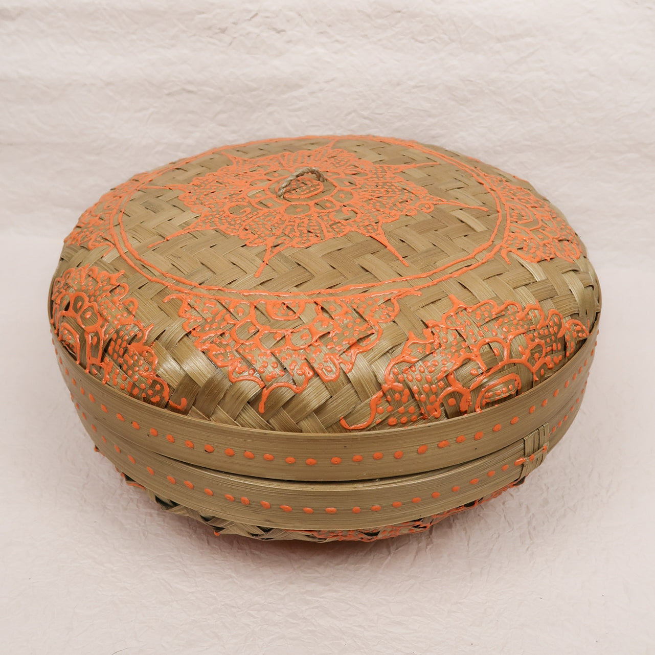 Bali boho chic woven round fat box painted orange small size