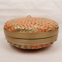 Load image into Gallery viewer, Bali boho chic woven round flat box painted orang small size front