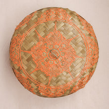 Load image into Gallery viewer, Bali boho chic woven round fat box painted orange small size lid
