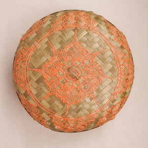 Bali boho chic woven round fat box painted orange small size lid