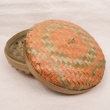Load image into Gallery viewer, Bali boho chic woven round fat box painted orange small size lid side