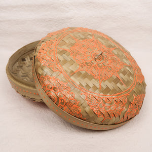 Bali boho chic woven round fat box painted orange small size lid side