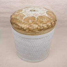 Load image into Gallery viewer, Bali boho chic woven round box painted white large size