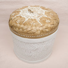 Load image into Gallery viewer, Bali boho chic woven round box painted white medium size