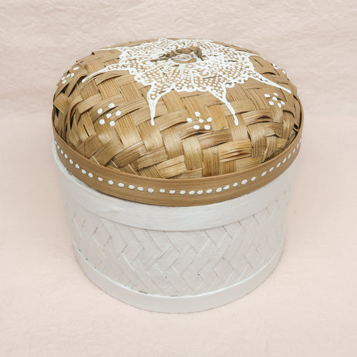 Bali boho chic woven round box painted white small size title