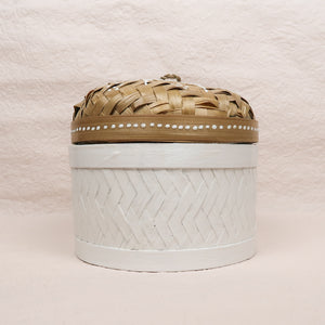 Bali boho chic woven round box painted white small size front