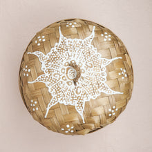 Load image into Gallery viewer, Bali boho chic woven round box painted white small size lid
